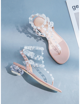 Women's White Studs Detail Strappy Sandals by Choies