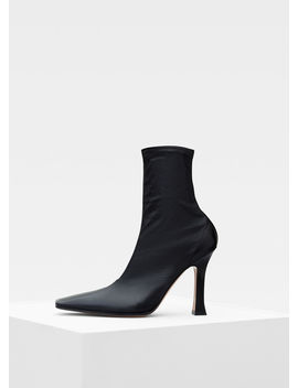 Flare Ankle Boot In Stretch Nappa Lambskin And Shiny Kidskin by Celine