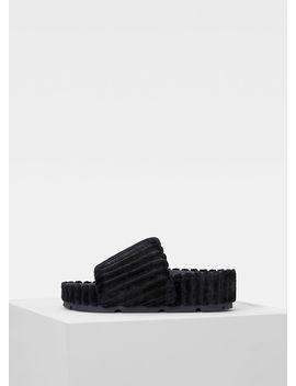 Boxy Flat Slipper In Padded Velvet by Celine