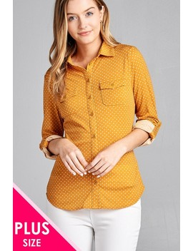 Ladies Fashion Plus Size 3/4 Roll Up Sleeve Front Pocket Detail Dot Print Stretch Knit Shirts Id.36194a by 599 Fashion