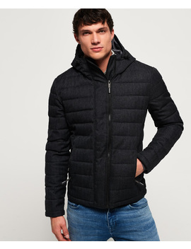 Hooded Double Zip Tweed Fuji Jacket by Superdry