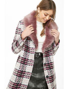 plaid-brushed-felt-coat by forever-21