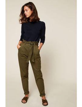 Straight Cut Trousers   Green / Khaki by Monshowroom