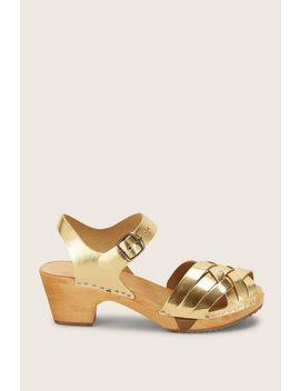 Sandal Mid Heel   Betty Flex   Yellow / Golden by Monshowroom
