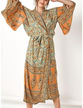 Yellow Folk Print Open Front Flare Sleeve Chic Women Longline Kimono by Choies