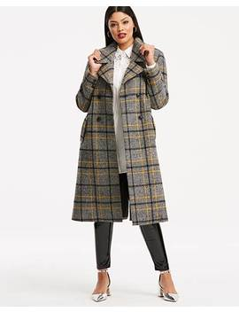 Check Wool Mix Double Breasted Coat by Fashion World