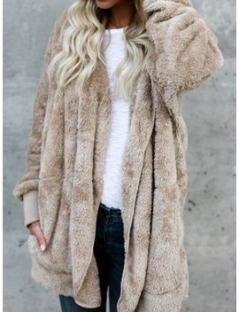Khaki Faux Fur Long Sleeve Chic Women Hoodie Coat by Choies