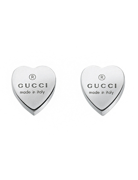 Gucci Trademark Silver Heart Stud Earrings by Beaverbrooks