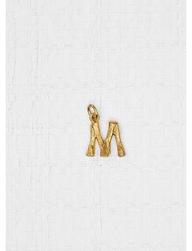 Alphabet M Mini Pendant In Brass by Celine