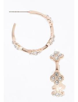 Rhinestone Clover Hoops by Cato