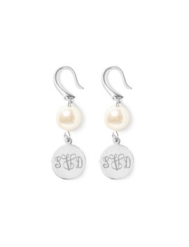 Pearl Monogram Disc Earrings by Kiel James Patrick