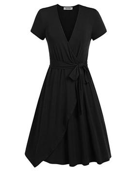 Women Summer Casual Dress V Neck Short Sleeve Belted A Line Wrap Midi Party Dress Black by Luulla
