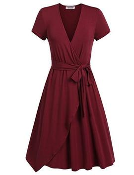 Women Summer Casual Dress V Neck Short Sleeve Belted A Line Wrap Midi Party Dress Burgundy by Luulla
