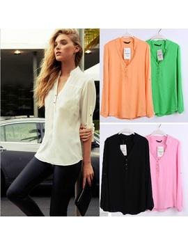 Women Blouse Spring Summer Long Sleeve Casual Shirts Feminina Chiffon Top Shirt Blouses Plus Size S Xxxl Black by Luulla