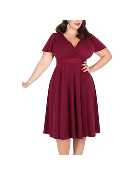 Plus Size Women Casual Dress V Neck Short Sleeve Knee Length A Line Work Office Party Dress Burgundy by Luulla