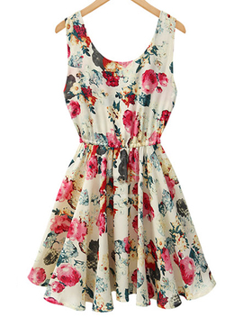 Sleeveless Floral Printed A Line Dress by Luulla