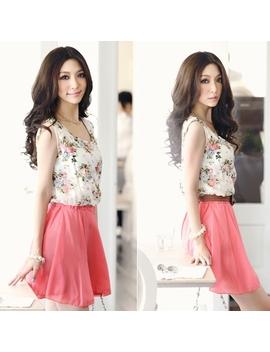 Sweet Summer Printed Flower Chiffon Sleeveless Dress by Luulla