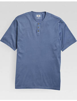 Joseph Abboud Chambray Blue Short Sleeve Henley by Mens Wearhouse