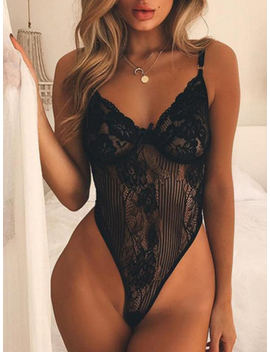 Black Spaghetti Strap Plunge Lace Bodysuit by Choies