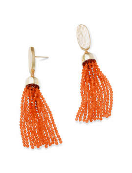 Marin Gold Statement Earrings In Orange Opaque Glass by Kendra Scott