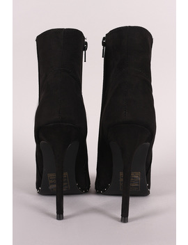 Qupid Suede Pointy Toe Beaded Trim Stiletto Booties by Urbanog