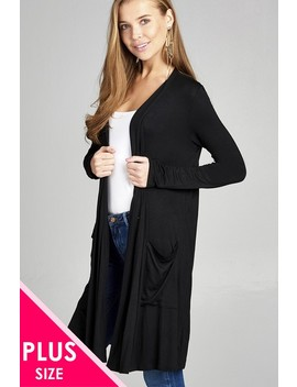 Ladies Fashion Plus Size Long Sleeve Open Front W/Pocket Long Length Rayon Spandex Cardigan Id.34974 by 599 Fashion