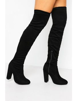 Black Faux Suede Thigh Boots by Trendeo