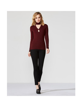Cat Track Cut Out Turtleneck Top by Bailey44