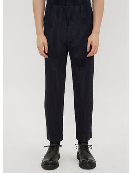 Ribbed Pants In Navy by Homme Plissé Issey Miyake