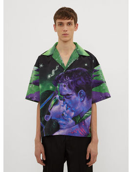 Cleopatra Kissing Bowling Shirt In Purple by Prada