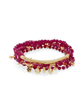 Supak Gold Beaded Bracelet Set In Maroon Jade by Kendra Scott