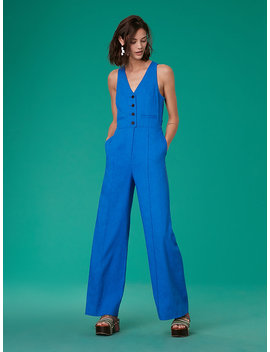 Sleeveless Button Up Fitted Linen Jumpsuit&Nbsp; by Dvf