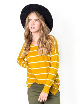 Justine Stripe V Neck Pullover Sweater by Cents Of Style