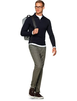 Navy Long Sleeve Polo by Suitsupply