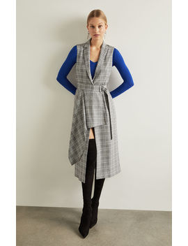 Drape Front Houndstooth Long Vest by Bcbgmaxazria