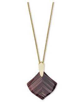 Aislinn Gold Long Pendant Necklace In Brown Dusted Glass by Kendra Scott