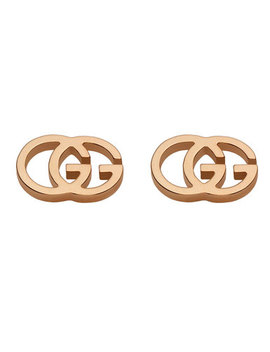 Gucci Double G 18ct Rose Gold Stud Earrings by Beaverbrooks
