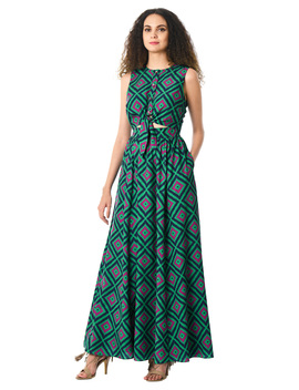 Diamond Print Tie Front Crepe Dress by Eshakti