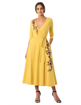 Floral Vine Embellished Cotton Knit Midi Wrap Dress by Eshakti