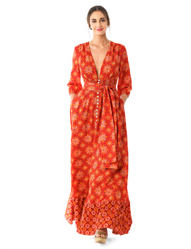Plunge Tile Print Crepe Maxi Shirtdress by Eshakti