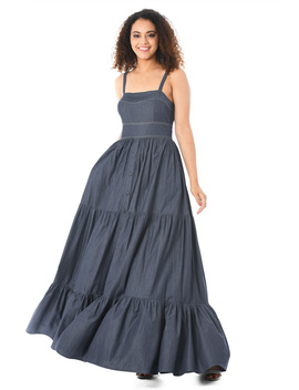 Tiered Cotton Chambray Maxi Dress by Eshakti