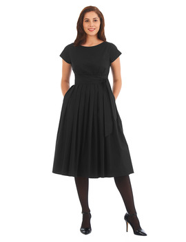 Cotton Poplin Sash Tie Dress by Eshakti