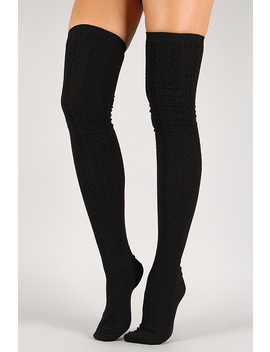 Solid Twist Thigh High Socks by Urbanog