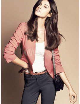 Blazer Casual Jacket Pink Women Long Sleeve Spring Coat by Milanoo