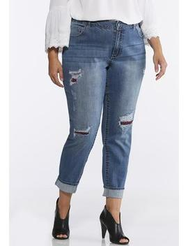 Plus Size Plaid Distressed Jeans by Cato