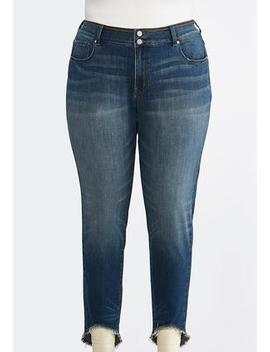 Plus Size Curved Frayed Ankle Jeans by Cato