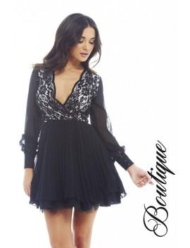 Lace Kick Out Net Pleat  Dress by Ax Paris