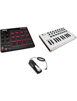 Akai Professional Mpd218 Usb Pad Controller With Arturia Mini Lab Mk Ii Keyboard Controller And Auray Sustain Pedal Kit by No Brand