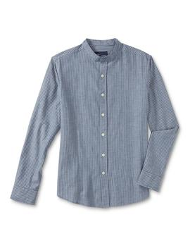 Route 66 Men's Chambray Banded Collar Dress Shirt   Railroad Stripe by Kmart