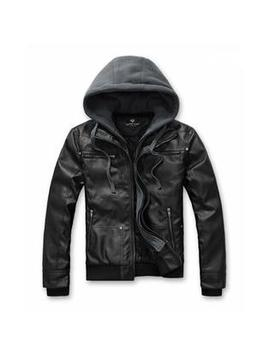 Amtify Mens Pu Leather Jacket With Removable Hood by Kmart